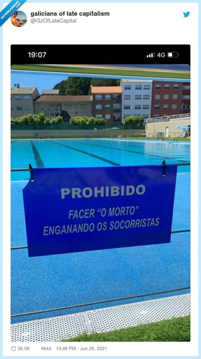 cartel,gallegos,hacerse el muerto,piscina