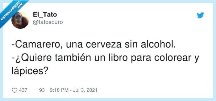 camarero,cerveza,colorear,lápices,sin alcohol