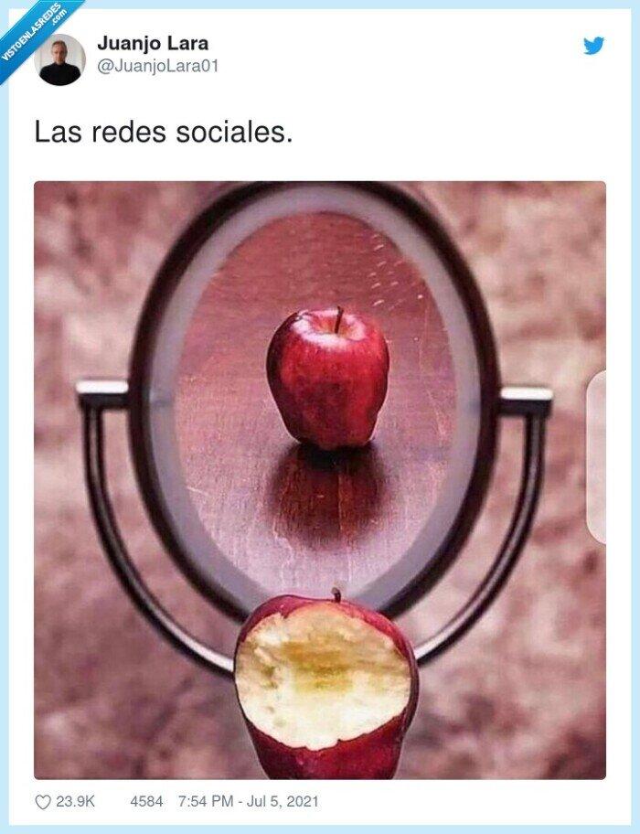 engañar,espejo,redes sociales