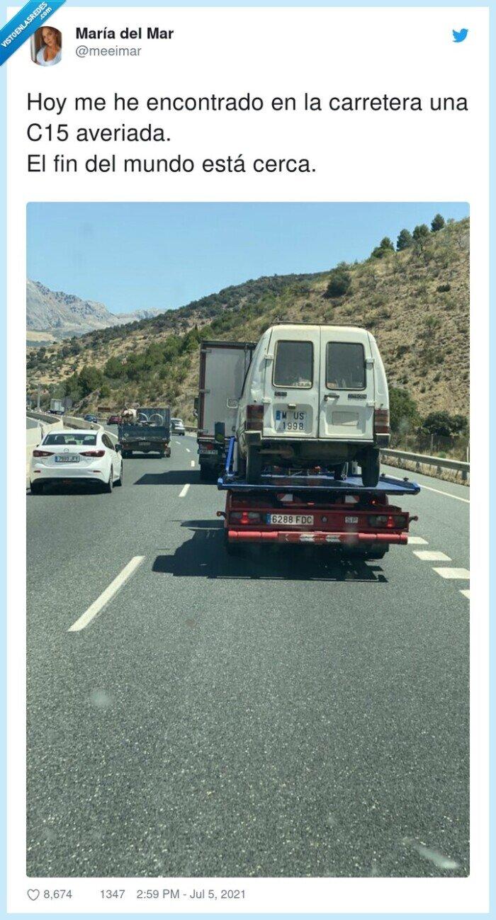 averiada,c15,carretera,furgoneta