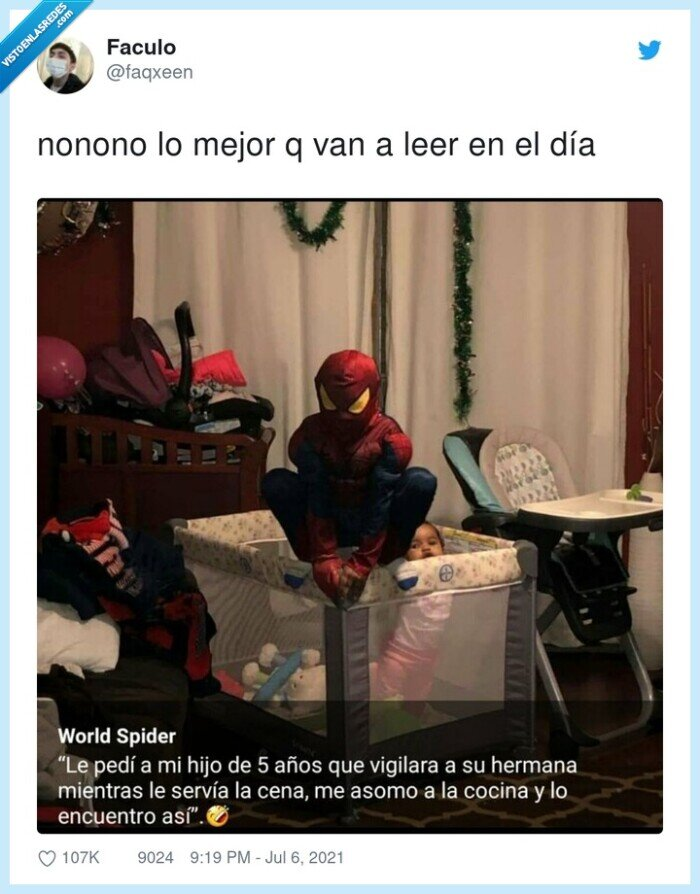 bebé,cuna,hermana,spiderman