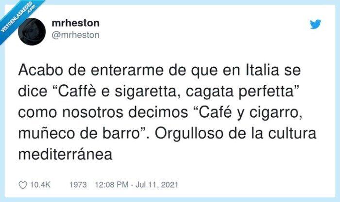 caffè,españa,italia,mediterránea,muñeco de barro,orgulloso,perfetta,refranes,sigaretta