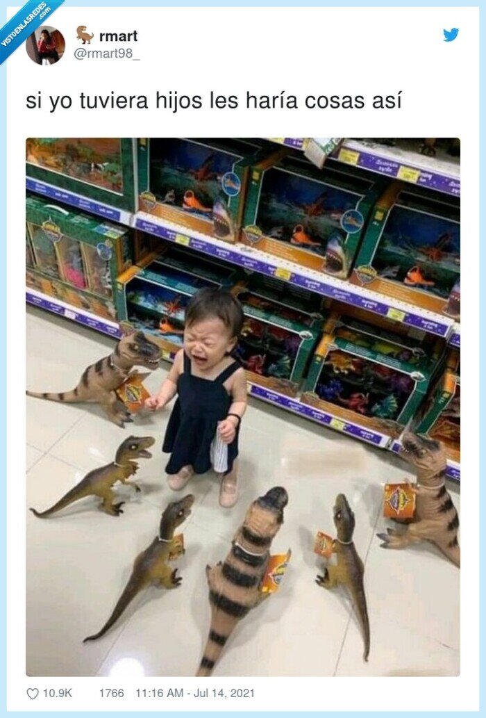 dinosaurios,juguetes,llorar,niña,rodear
