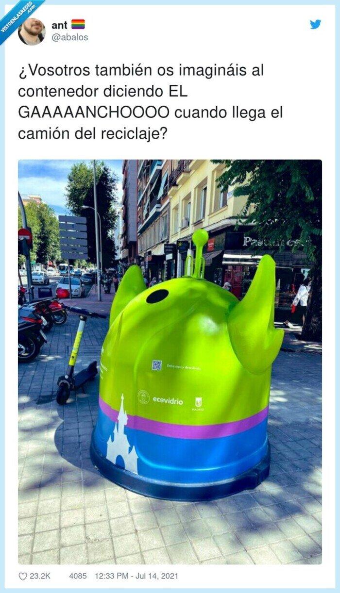 contenedor,gaaaaanchoooo,pixar,reciclaje,toy story