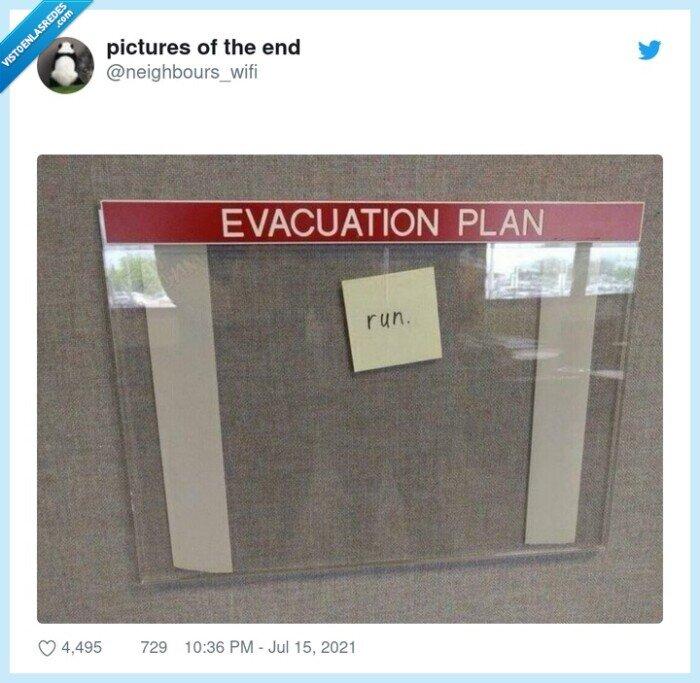 correr,plan de evacuación,run