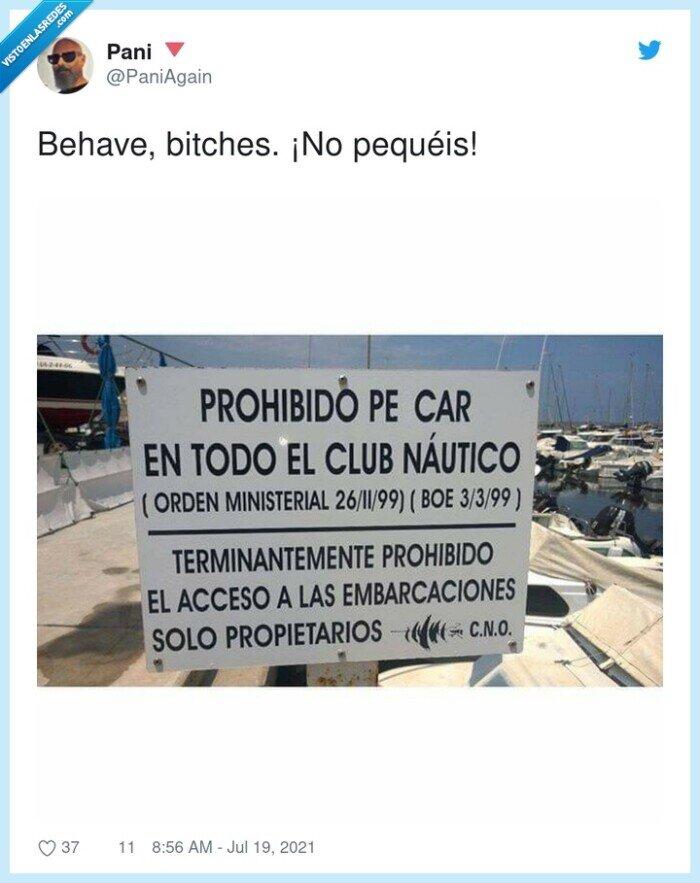 behave,cartel,club náutico,pecar
