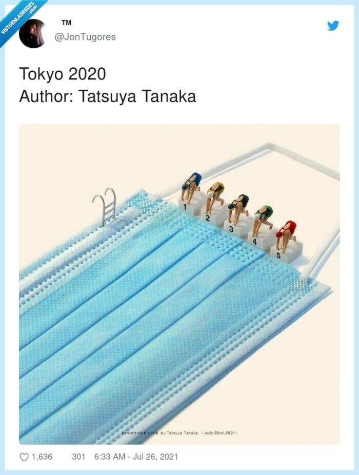 2020,autor,mascarilla,natación,tatsuya tanaka,tokyo