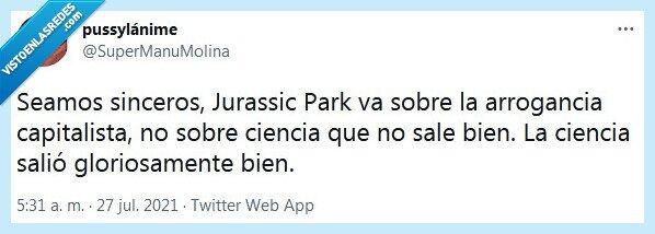 arrogancia,ciencia,jurassic park