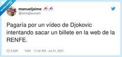 Enlace a Djokovic vs mostrador de RyanAir, por @emiajleunam