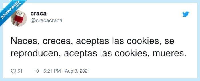 aceptar,cookies,crecer,mueres,naces,reproducen