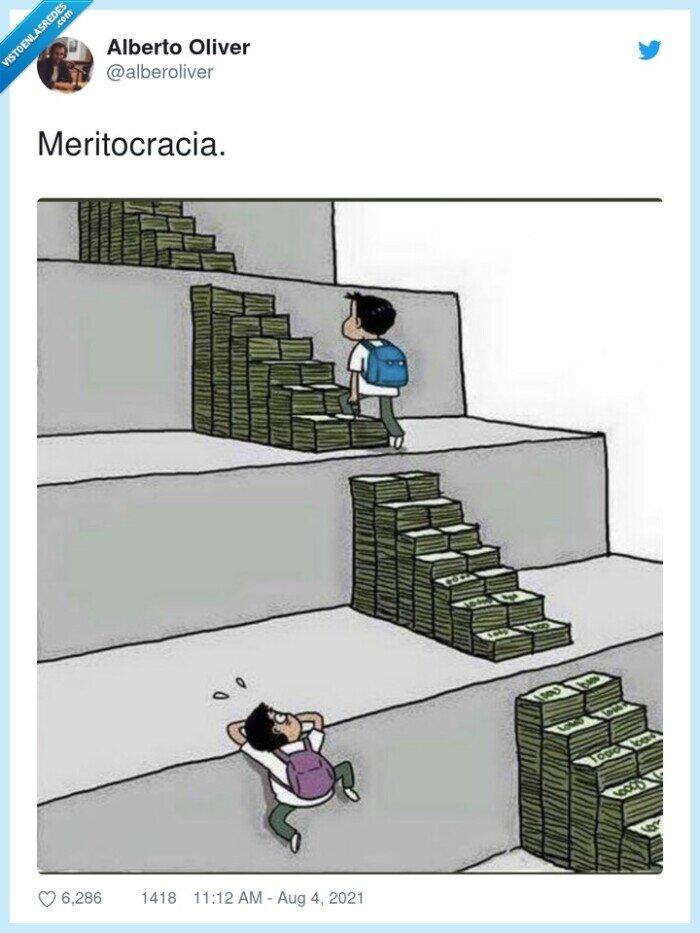 billetes,escaleras,meritocracia,peldaños,subir