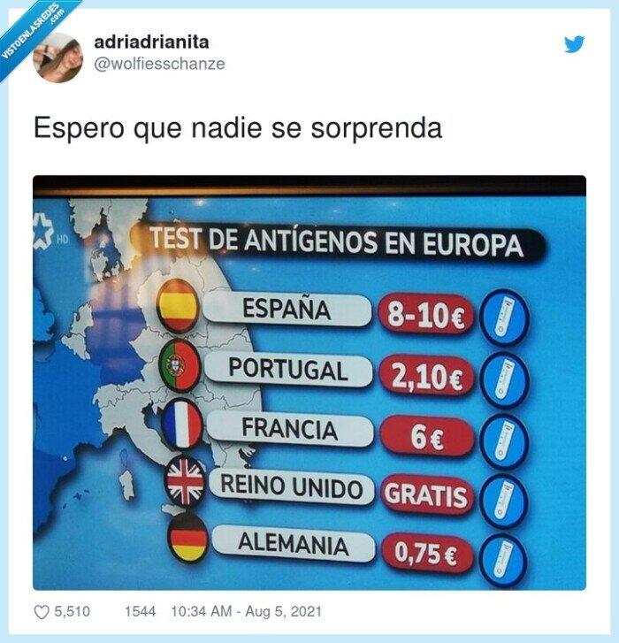 europa,precios,test de antígenos