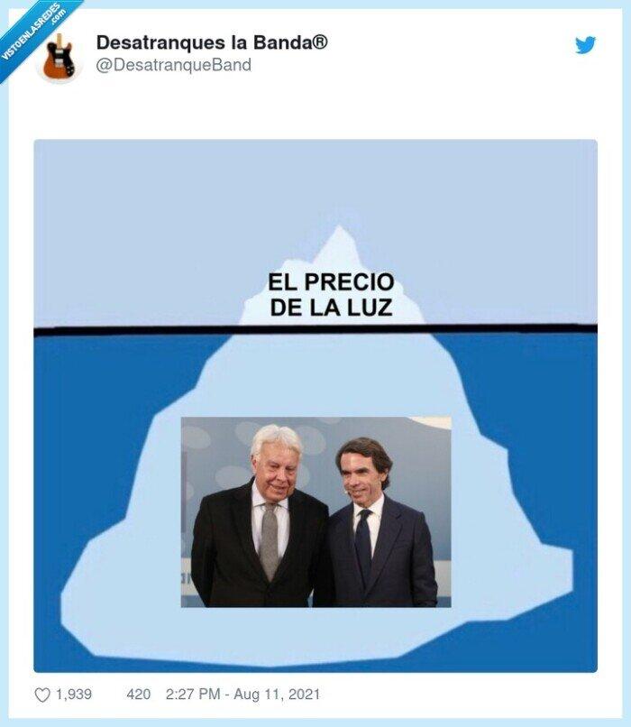 aznar,felipe gonzalez,iceberg,luz,precio
