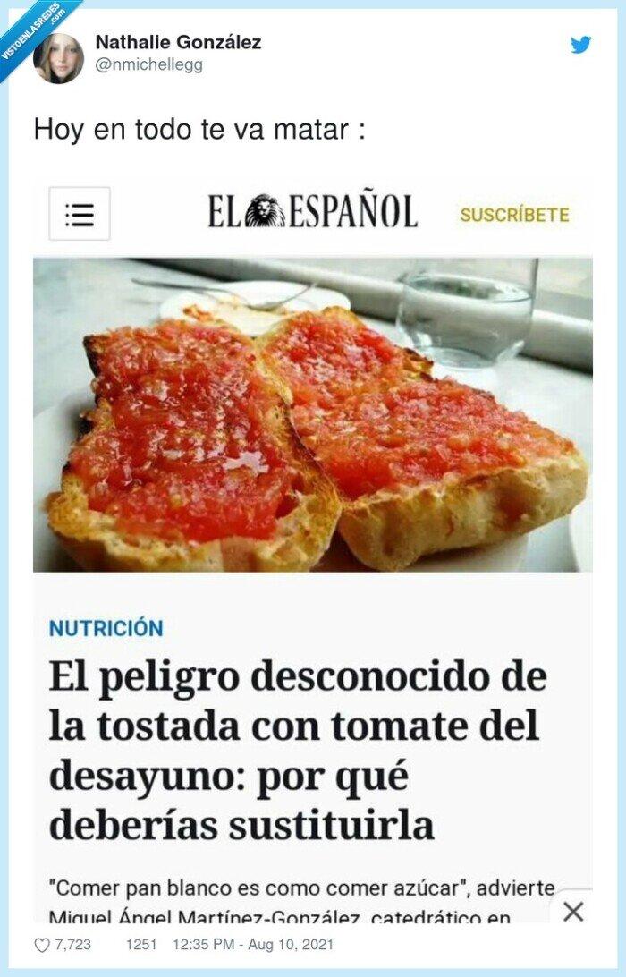 pan blanco,tomate,tostada