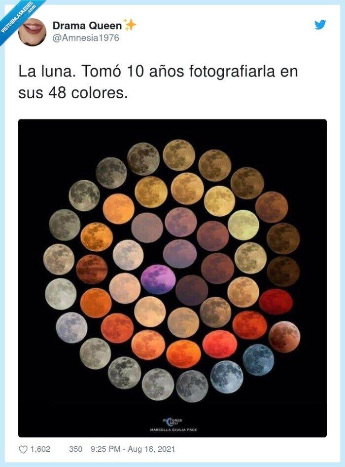años,colores,fotografiarla,luna,sus,tomó