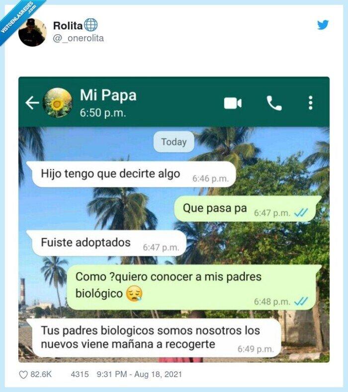 adoptados,conversación,whatsapp