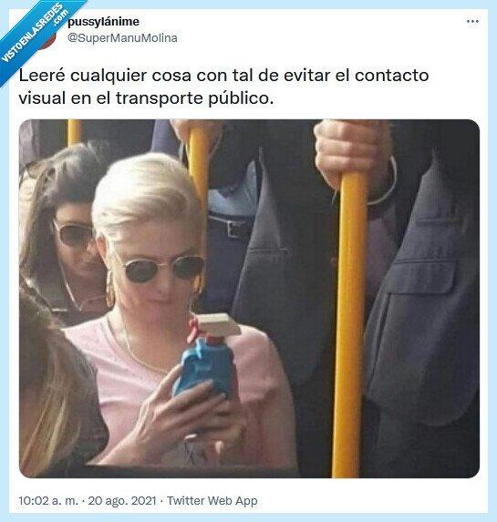 contacto,evitar,leer,público,transporte,visual