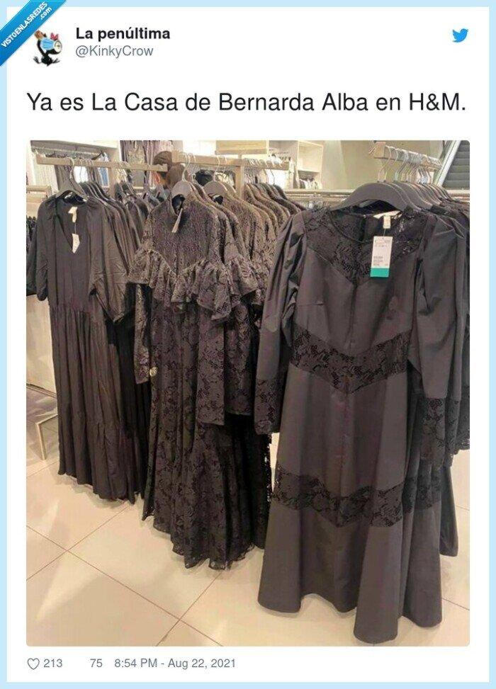 bernarda alba,casa,hm,negro,vestidos