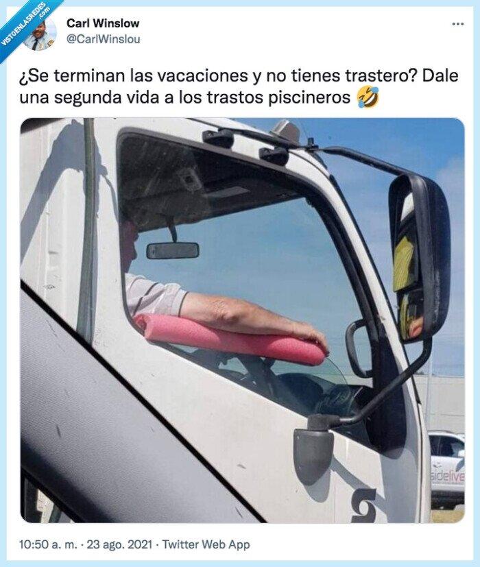 camión,churro,piscineros,terminar,trastero,trastos,vacaciones