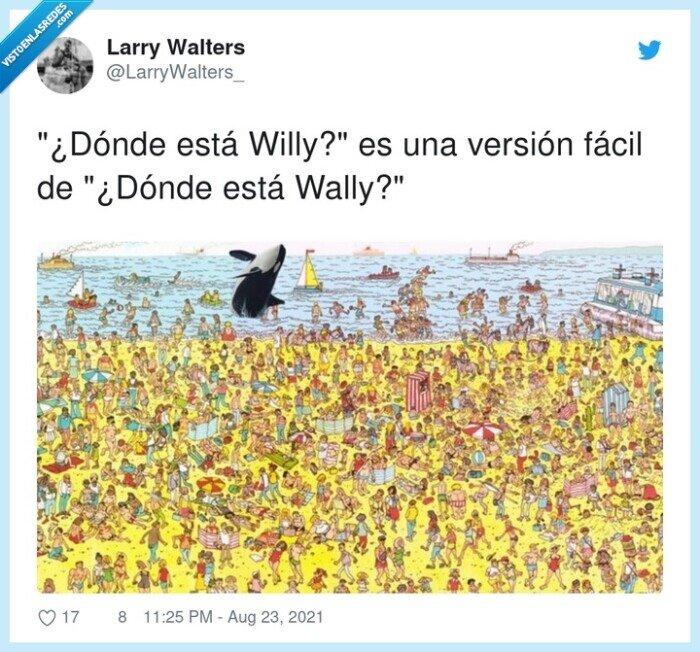 en inglés es waldo,versión fácil,wally,willy
