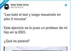 Enlace a  El genial examen de la ESO que hará que todos los alumnos aprendan a leer enunciados como Dios manda, por @EsterRubio2
