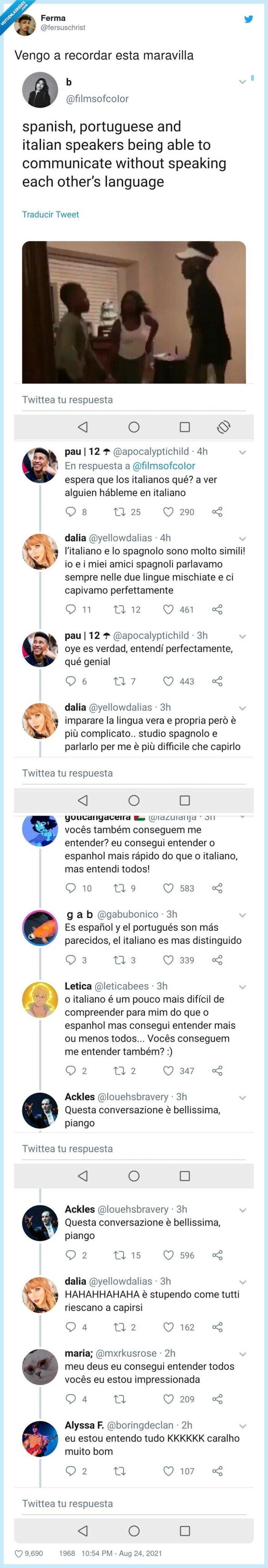 conversación,español,italiano,portugués