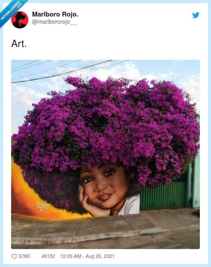 arbusto,arte,chica,graffiti,pelo