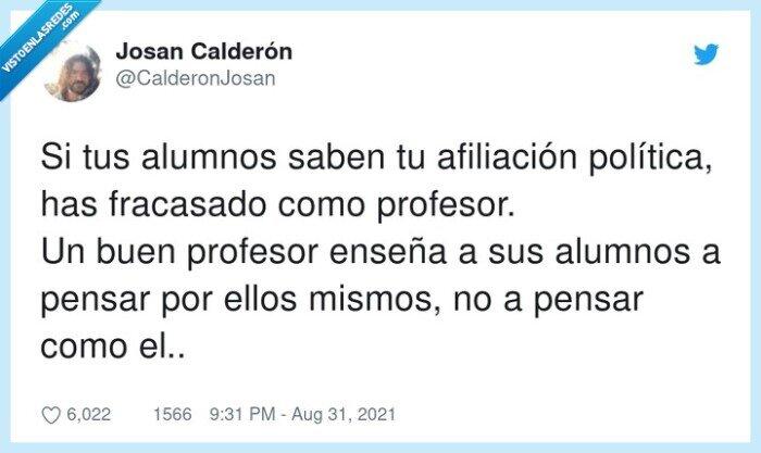 afiliación política,alumnos,fracasado,profesor