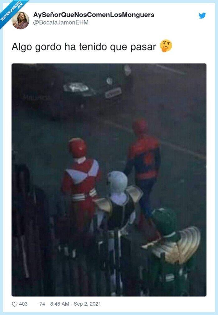 ayuda,power rangers,spiderman