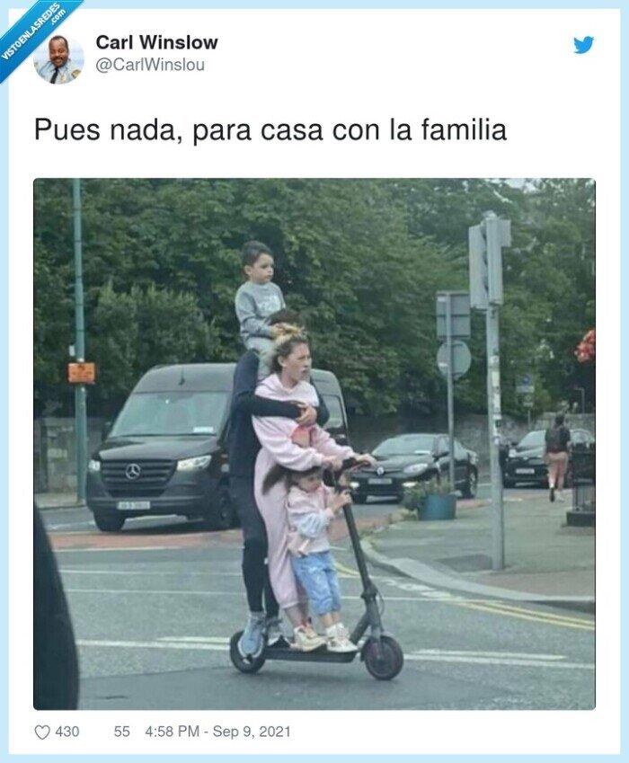 familia,patinete,viaje