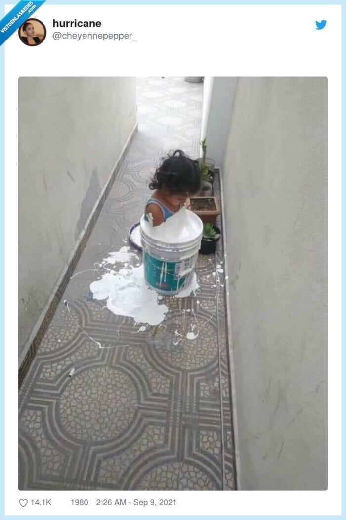 niña,pintura,pote