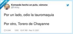 Enlace a Torero de Chayanne es intocable, por @FriKitty