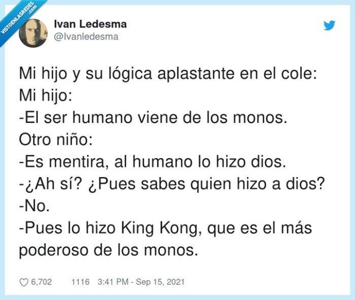 aplastante,humano,king kong,lógica,mentira,monos,niño,poderoso