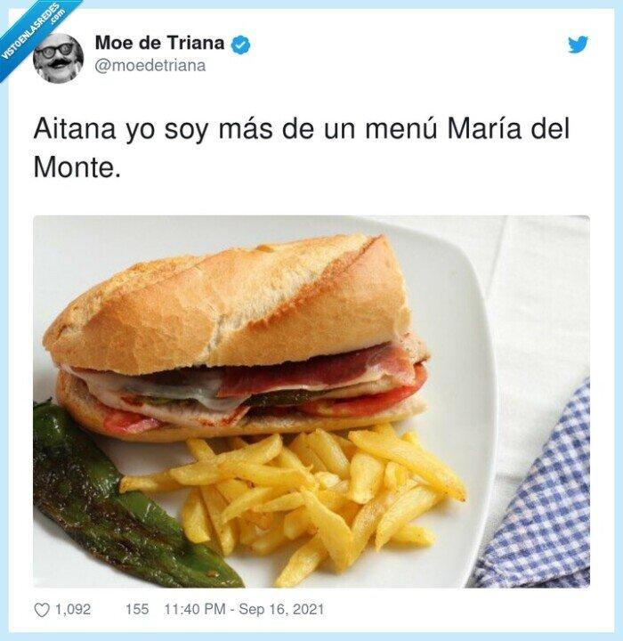 aitana,maría del monte,menú