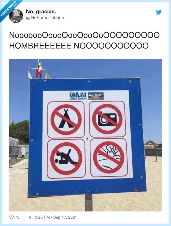 cartel,manola,playa,tocarse