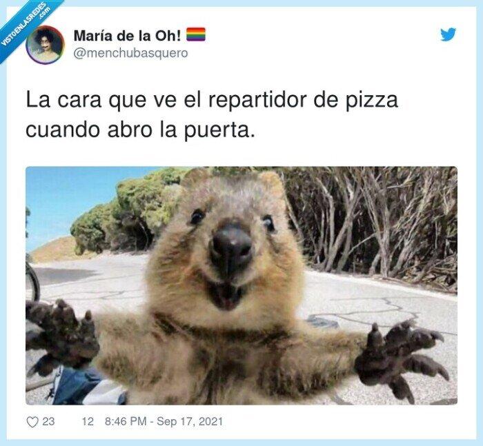 abrir,cara,pizza,puerta,repartidor