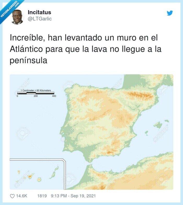 atlántico,canarias,increíble,la palma,muro,península