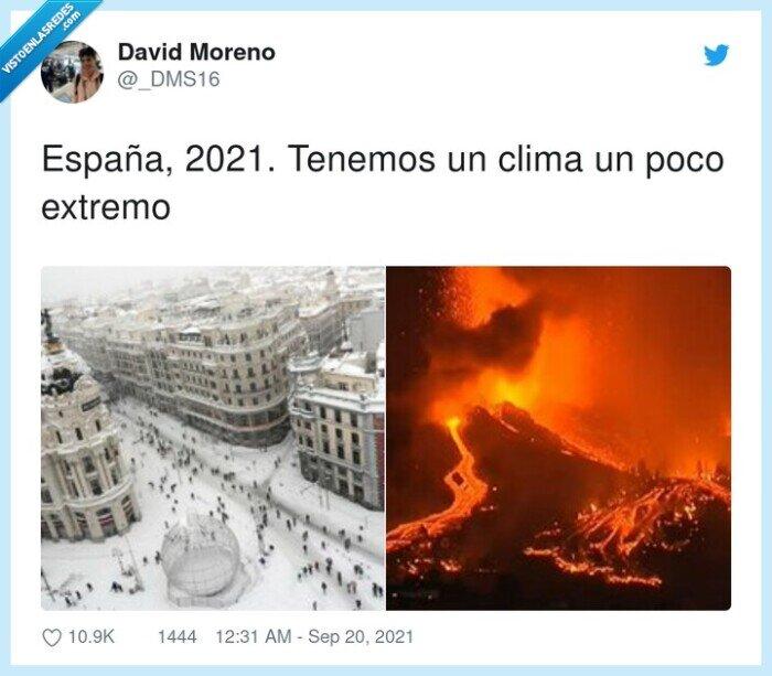 2021,clima,españa,extremo,filomena,la palma,nevada,volcán