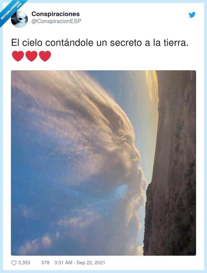 cielo,contándole,secreto,tierra
