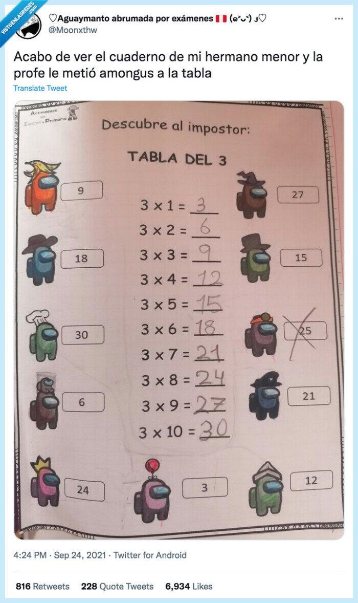 among us,cuaderno,hermano,impostor,matematicas,multiplicar,tablas