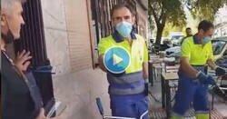 Enlace a Indignante como esta señora recrimina a este trabajador que está haciendo su trabajo que no la moje, por @supercrisisblog