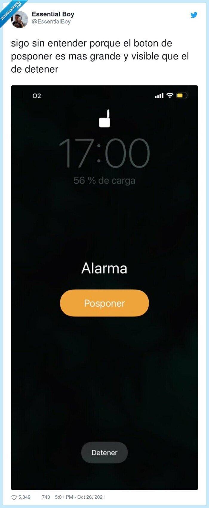 botón,detener,entender,grande,iphone,posponer,tamaño,visible
