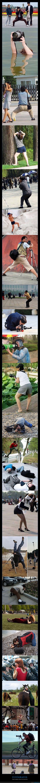 chinos,extraños,Fotógrafos,posición,sentadilla,suelo,tirado,tirar