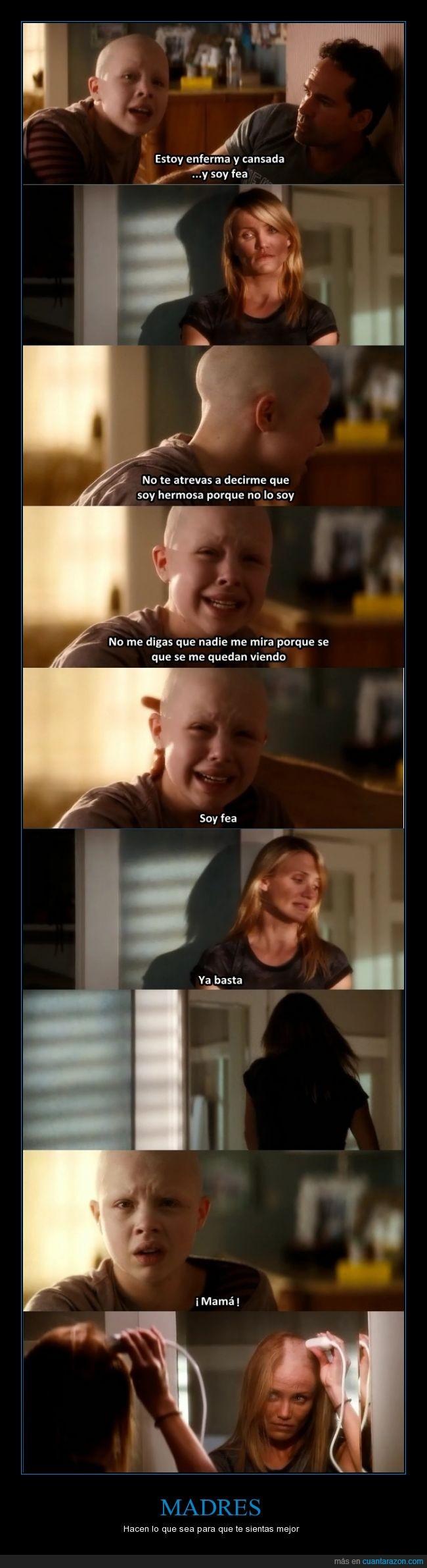 Cameron Diaz,cáncer,fea,hija,La decisión de Anne,madres,niña,pelo,rapar