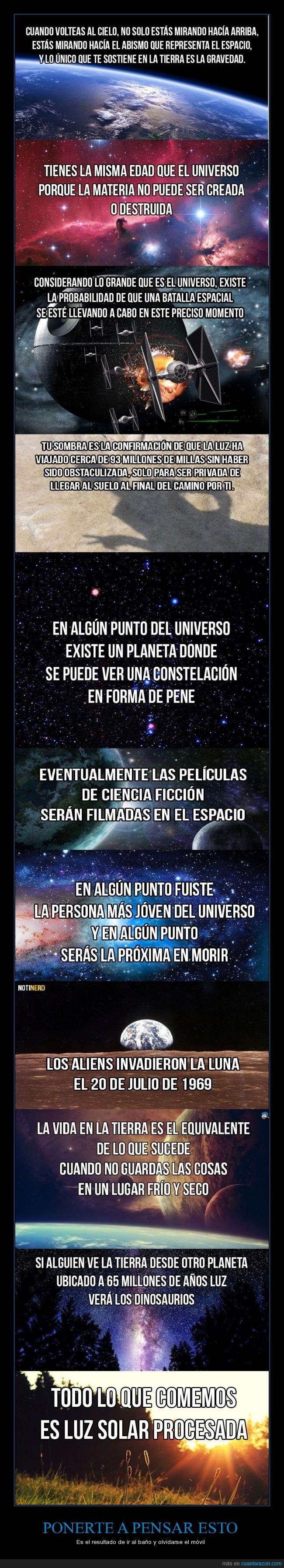 aliens,baño,curiosidades,dinosaurios,espacio,movil,pensar,planetas,tiempo,universo