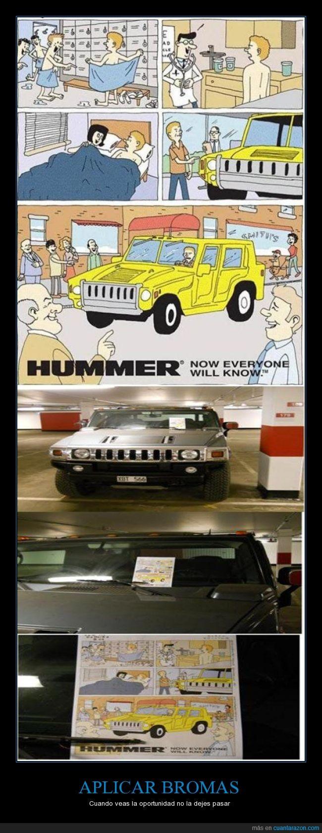 aparcamiento,broma,caricatura,cómic,compensar,dejar,dibujos,historieta,Hummer,humor,miembro,nota,tamaño