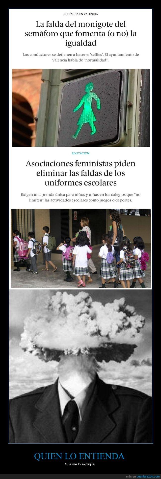 colegio,faldas,feministas,mujeres,poner,quitar,semáforos