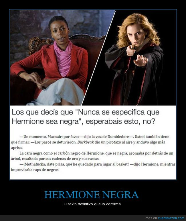 color,harry potter,hermione,humor,negra,raza