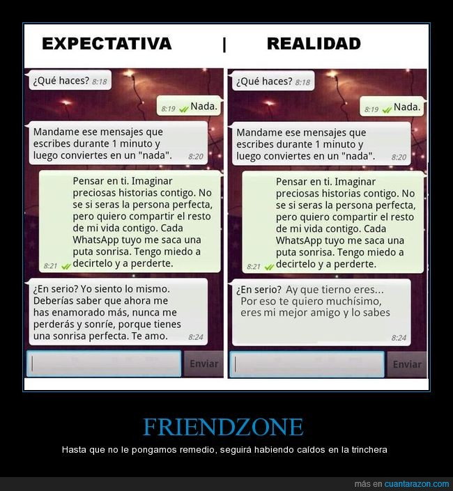 conversación,expectativa,friendzone,realidad