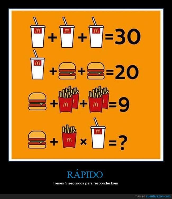 bebida,calcular,hamburguesa,multiplicaciones,patatas,sumas